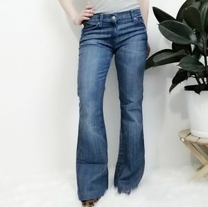 7 FAM Charlize Wide Flare Leg Distressesd Jeans 28